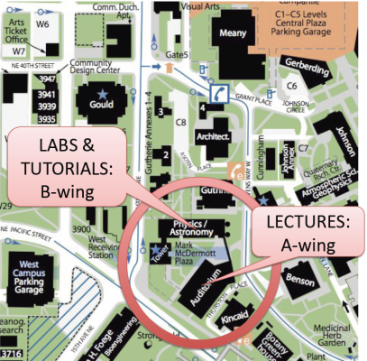 map showing Physics classrooms