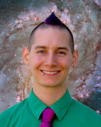 Marshall Styczinski framed by the Messier 81 galaxy
